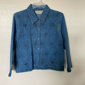 Jean Jacket with Black Beads